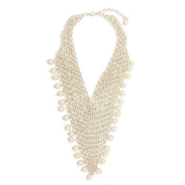 Mondet Big Chain & Link Seashell Pearl Accessories Statement Necklace Matte Tone Plating Metal Jewelry