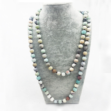 ST0322 Matte Amazonite Stone necklace boho Handmade Jewelry 42 inches knotted Frosted Amazonite Stone long necklac