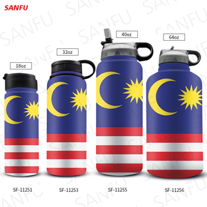 San Fu 18 25 32 40 64 OZ Sports Water Bottle Wide Mouth Stainless Steel Thermos Vacuum Flask