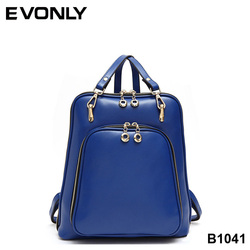 B1041 Factory Supply High Quality Trendy Pure Color Girls College Backpack, Ladies PU Leather Fashion Backpack