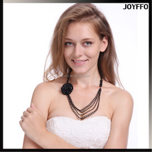 New Fashion Multilayer Black Crystal Beads Flower Pendant Women Statement Chain Bib Collar Necklace