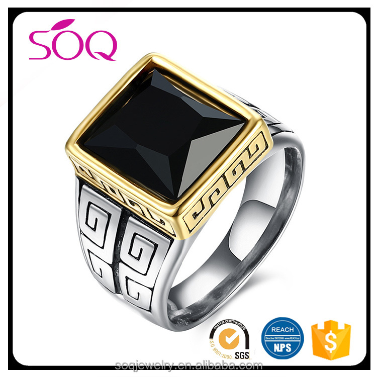 Large Square Jade Gemstone Rings Vintage Solitaire Precious Black Stone Ring Bands For Unisex