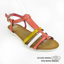 T-strap ankle strap buckle flat open toe summer women sandals ladies shoes