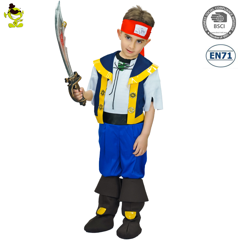 Cool Pirate Costumes Boys Handsome Viking Imitation Sets Kids Dominating Buccaneer Leader Performance Suits