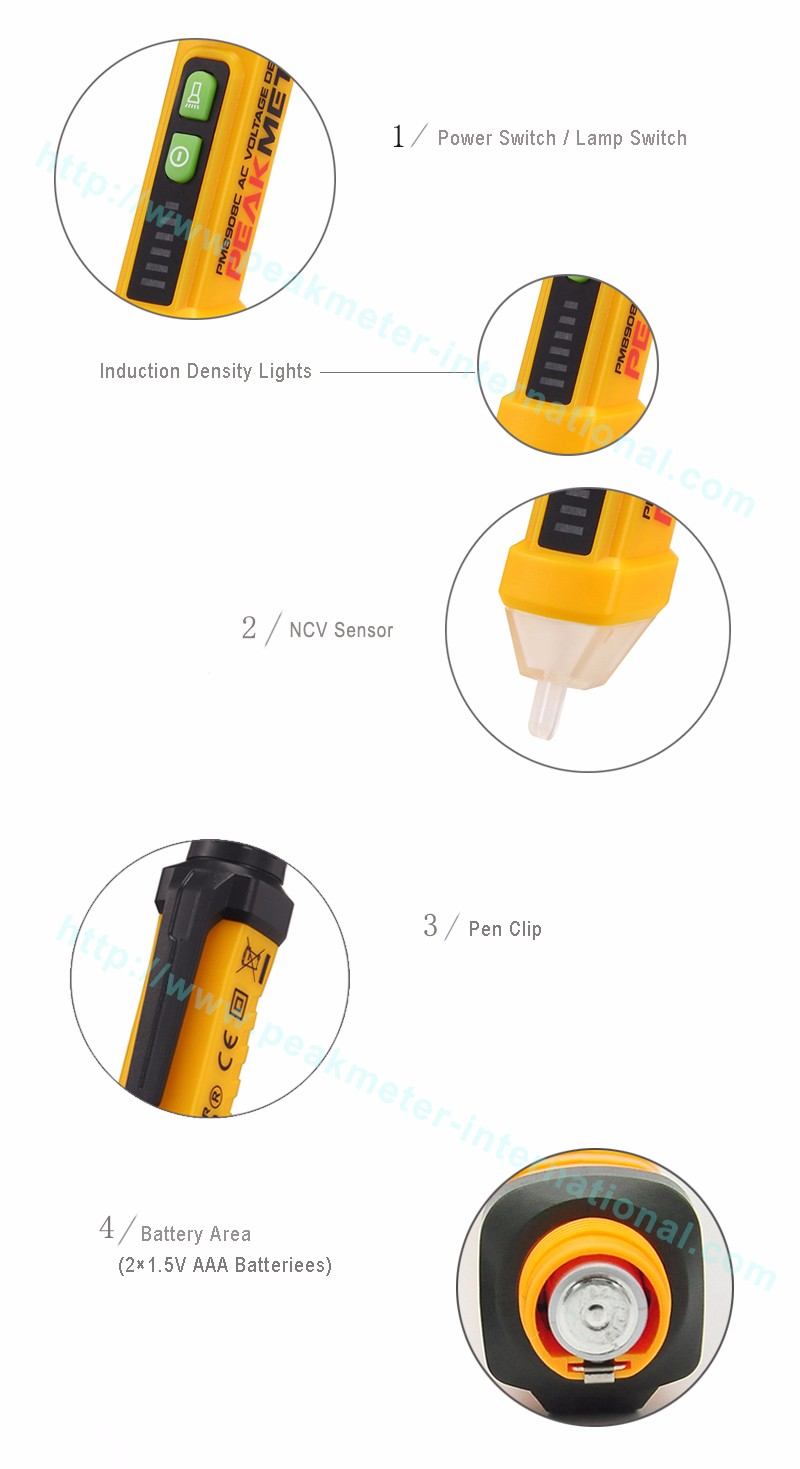 Top Sale Sound and LED Alarm 1000V AC Non Contact Electrical Test Pen