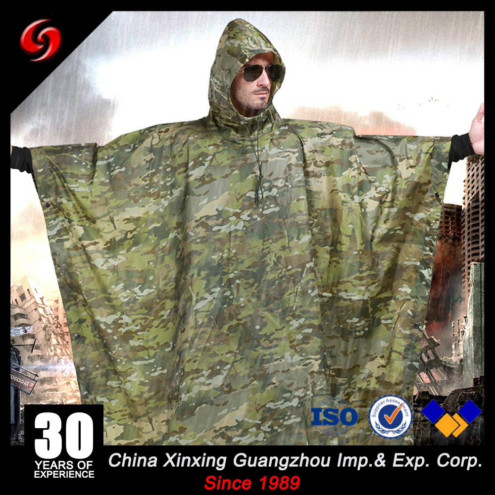 PVC Coating MultiCamo Poncho For Army Tactical Waterproof Rain Coat