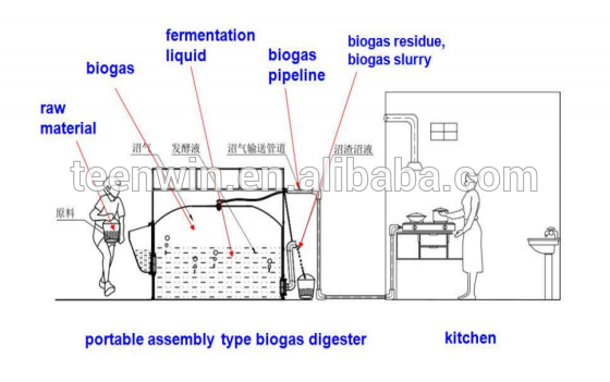 small biogas reactor for household cooking
