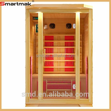 smartmak 2 person solide wood Far Infrared Sauna Room, bes selling FIR saunas with dual control panel SMT-021HC