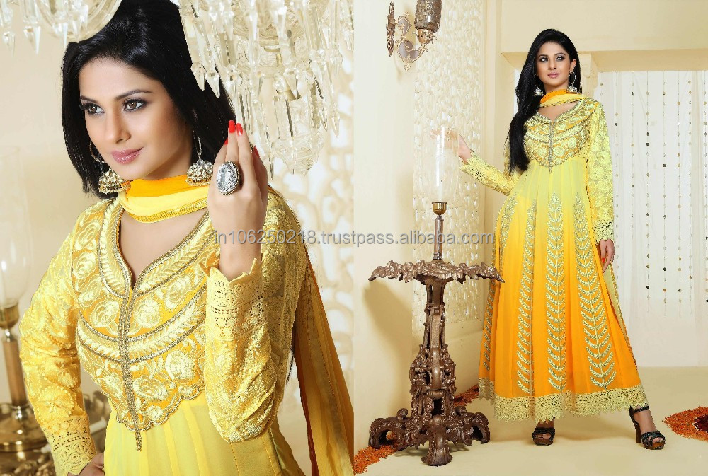 yellow NEW DESIGNER SUITS Latest Salwar Kameez Fancy dress designs designer creative fashionest letest anarkali dress R2095