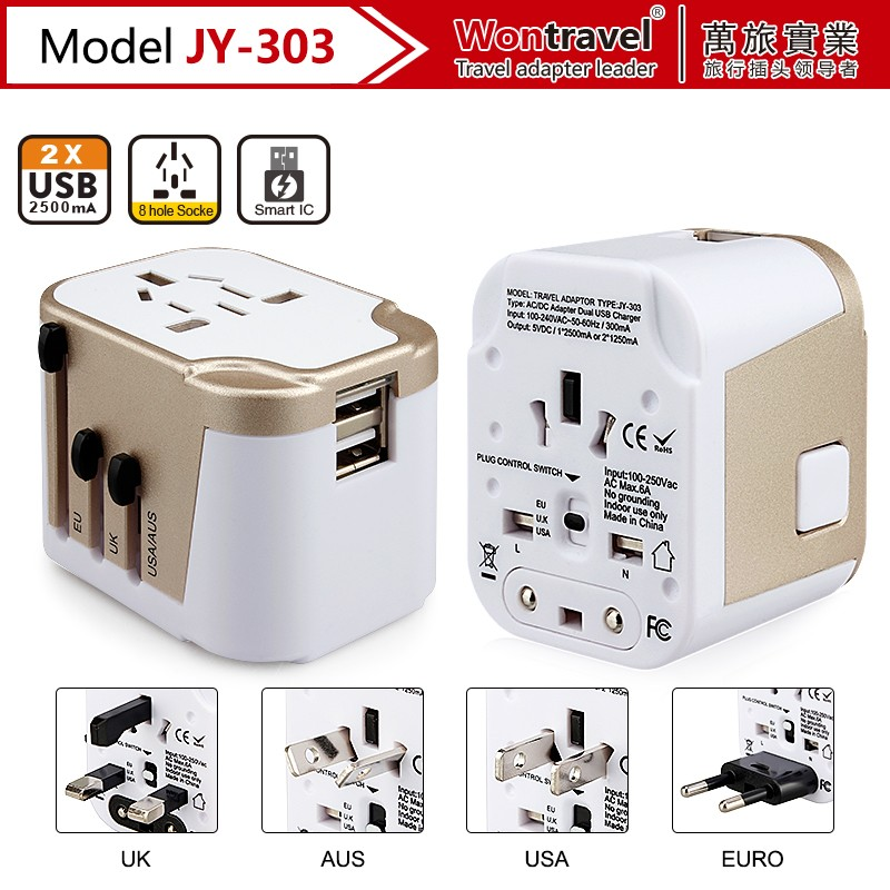JY-303 ALlibaba recommend world travel charger smart ic universal adapter laptop ac power adapter and charger