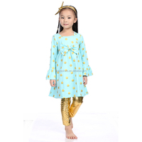 Baby clothes boutique girl clothing aqua gold polk dot with metallic tight outfit