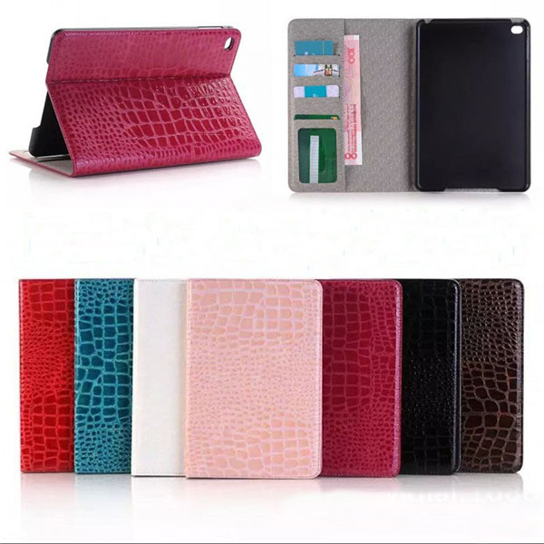 Crocodile Pattern Wallet PU Leather case for iPad mini4
