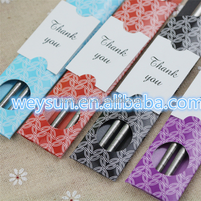 East Meets West Stainless steel chopsticks favor Chinese style wedding favors party gift