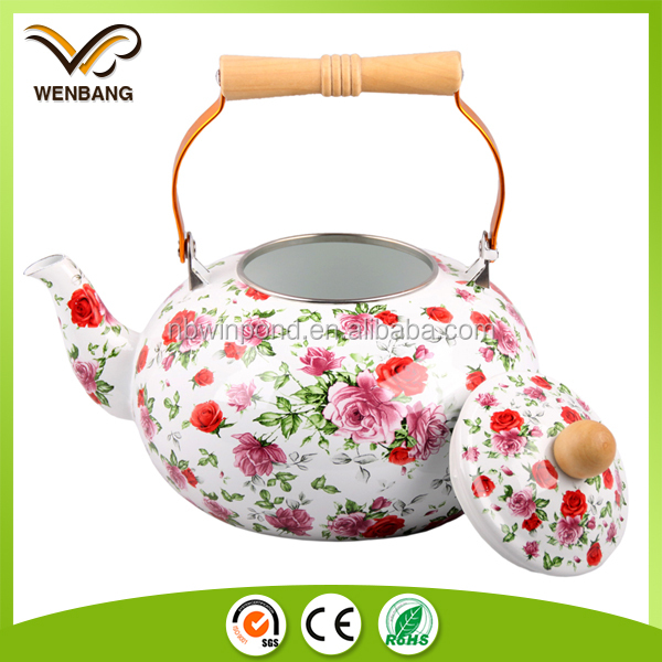 Full decal printing unique enamel tea kettle with wooden handle