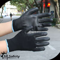 SRSAFETY 13g black polyester palm coated PU Household Electrical Appliances glove