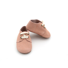 Fancy Comfortable Whoelsale Shoelace Handmade Suede Baby Oxford Shoes