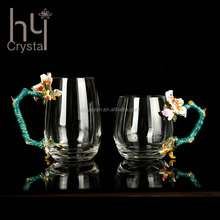 Apricot crystal color enamel glass cup elegant home hotel wedding banquet decorative fancy factory manufacturer wholesale