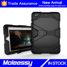 Silicone Plastic 3 in 1 Hybrid Shockproof & Drop Resistance Anti-slip cover for iPad Mini 123/mini4 kids proof case