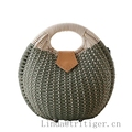 Woven Basket Bag Retro Totes Knitted Beach Straw Rattan Wicker Handbag