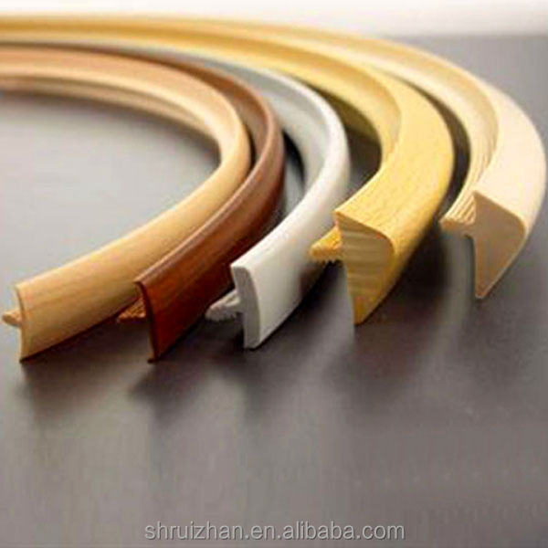 Edge protective wood shelf T shape PVC plastic strip, T mold edge trim