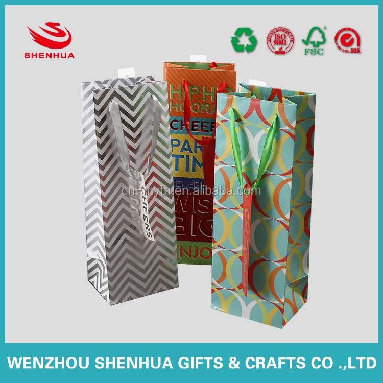 unique and luxury rectangle wine bottle paper bag with small card and handles from wenzhou china