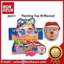 New Novelty Toy Santa Claus Clown Musical Flashing Spinning Top
