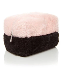 Pink Black Contrast Color Faux Fur Cosmetic Bag 18 Years Shenzhen Manufacturer