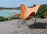 wooden frame leather butterfly chair