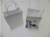 Customized white kraft bag/white kraft paper food bag with twisted handle