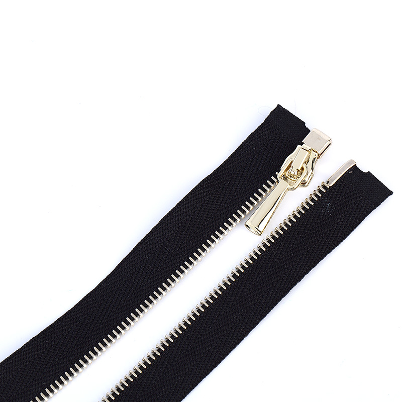 Light gold large metal zipper with different treating process
