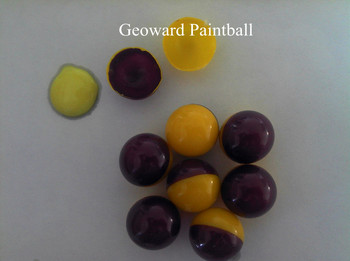 paintball ball manufacturer,2013 new winter,yellow/purple shell with neon green filler, 0.68'paintball for training