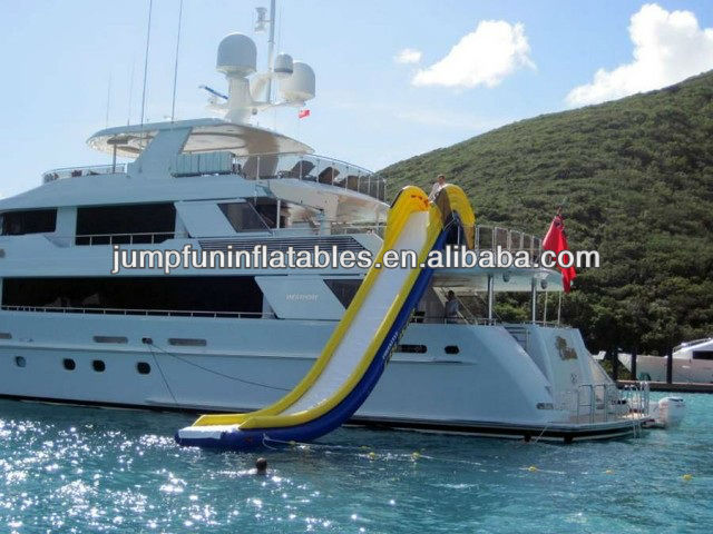 cheap Water Slide for Yacht,customized Inflatable houseboat water slide/Yacht slide/Floating slide