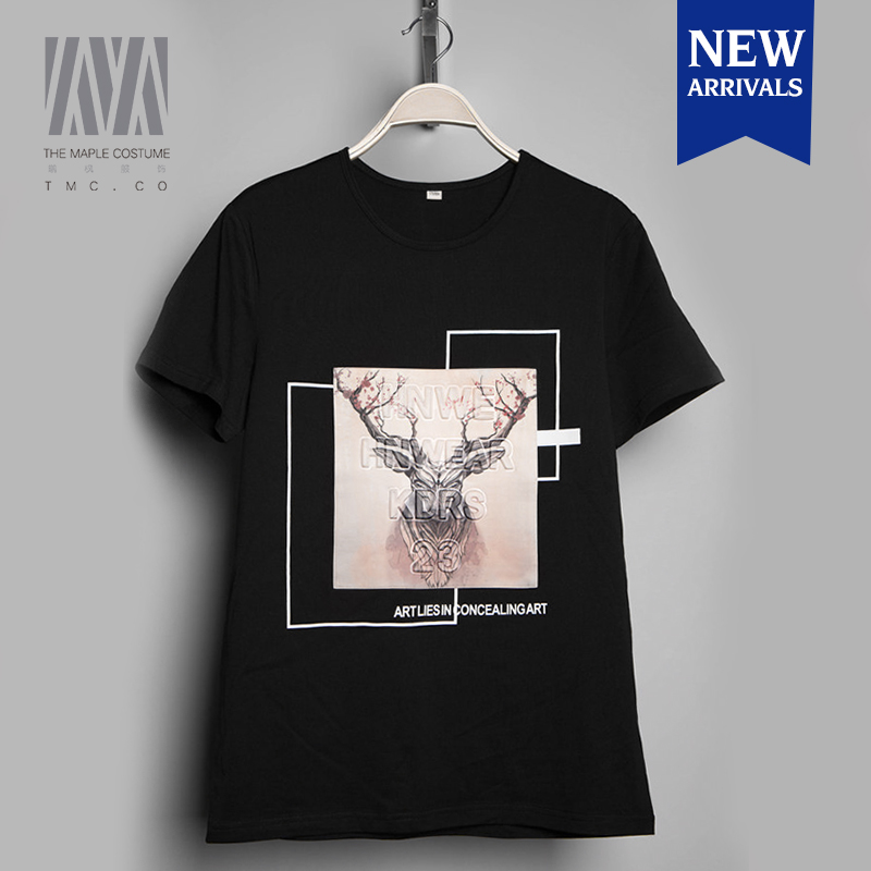 Male short-sleeved round neck Slim deer printing personalized 3d t shirt