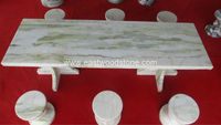 Green marble tables and benches