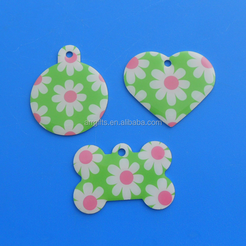 Flower Full-colored Heart/Round/Bone Shaped Hanging Charm Name Label Charm Dog Tag