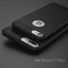 2017 New Style Silkprint Carbon Fiber Pattern TPU Cell Phone Case For iPhone 7 Plus Cover Case