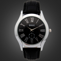 High Quality Double Movement Leather Watch 2 Colors Men Leather Quartz Watch with Workable Small Time Zone