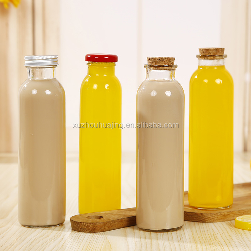 Wholesale 250ml 300ml 350ml 375ml 400ml 500ml clear cylinder empty beverage glass juice bottle with metal lids