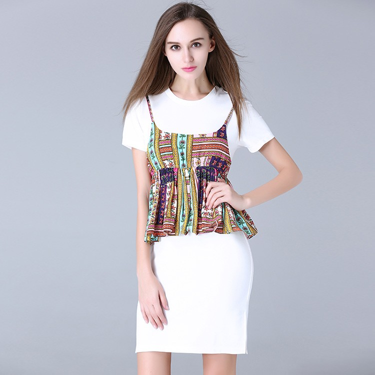 Fashion crop tank top with simple short long shirt ladies dress