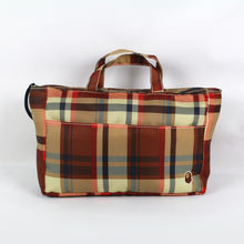 Alibaba stock price fancy tartan tote bags made in china canvas bag with outside porket