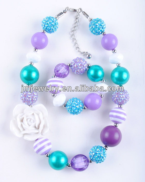 2015 New Pure White Rose Novelty Kids Teething Necklace Set ! Colorful Resin Beads ! Jewelry Making for Children !