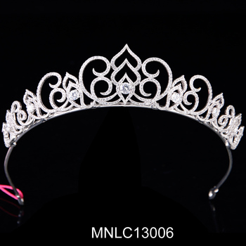 Hot selling fashion stock sparkling zircon bridal tiaras