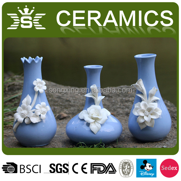 3d chinese ceramic stoneware vases with white flower