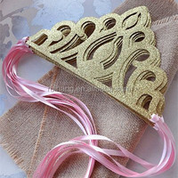 Pink and Gold Birthday Party Decoration. Ships in 2-5 Business Days. Princess Crowns as Party Favors
