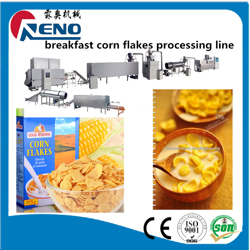 Chocolate curved cup corn flakes manufacturing extruder line production plant