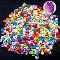 wholesale colorful kids round loose acrylic alphabets 4x7mm beads