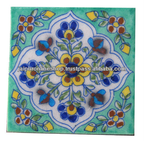 World Wide Exports Handmade Blue pottery Brush PaintingTiles