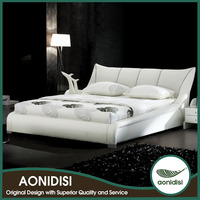 king size white geniune leather bed
