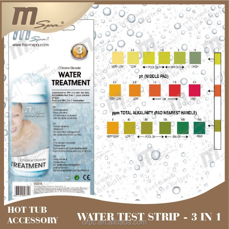 Water Test Strip for pool water / MSpa inflatable hot tub 3 way test chlorine PH Alkanility AC-80660