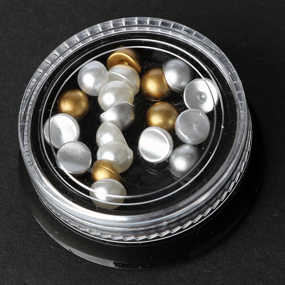 Hot sale korean japanese style 3D nail art decorations super bright semi circle pearl 6mm colour mixture in a 4cm box